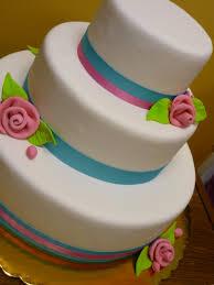 Artisan Bake Shop Simple Modern Teal And Pink Wedding Cake