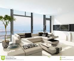 White Living Room Interior Design Modern White Living Room Interior With Splendid Seascape View
