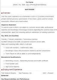 Bartender Resume Sample Sample Bartender Resume Skills Bartender
