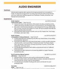 Audio Resume Audio Engineer Resume Sample Engineering Resumes Livecareer