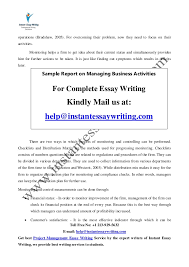 sample report on managing business activities by instant essay writing 10