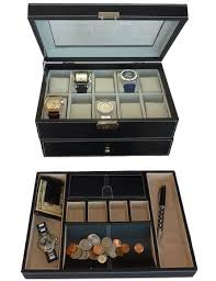 cheap 10 piece watch box 10 piece watch box deals on line at get quotations · two piece men s executive gift set black valet tray and 20 slot watch display case box
