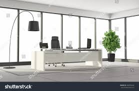 white modern office. Black And White Modern Office With Desk,chair Large Windows - 3d Rendering