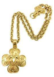 chanel gold plated clover shaped logo pendant necklace 1996