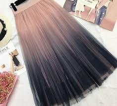Summer <b>Gradient</b> Korean Style <b>Skirts Elegant</b> High Waists A-line ...
