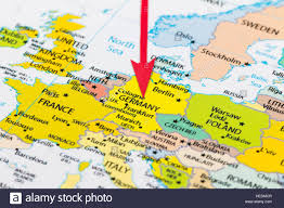 red arrow pointing germany on the map of europe continent stock