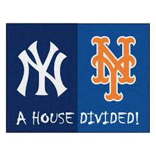 fanmats mlb yankees mets house divided navy blue 3 ft x 4 ft area rug 12253 the home depot