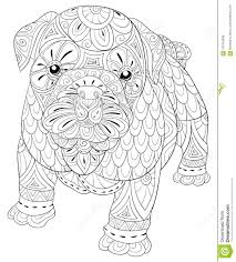 Adult Coloring Page A Cute Isolated Dog For Relaxingzen Art Style