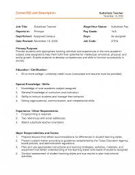 Resume Example For Substitute Teacher Job Description Template