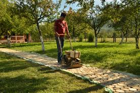 acacia wood slices for a rustic garden path home design