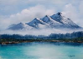 frosty mountains oil painting on hdf by artist darko topalski