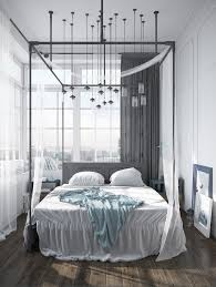 Exotic Modern Canopy Bed Design Made Of Dark Wood Elegant Gray In Wooden  With Queen Size ...