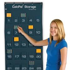 Eai Education Calcpal Calculator And Cell Phone Storage Pocket Chart 30 Numbered Pockets Durable Nylon Canvas Graphing