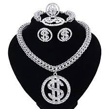 dollar sign pendant necklace earring bracelet ring gold plated chain for women men rhinestone hip