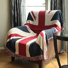 cotton knitted children throw blanket office home hotel travel sofa bed cover cushion union jack tassels