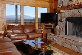 Living Room:Log Home Interior Idea In Living Room Design Brown Leather Sofa  In Log