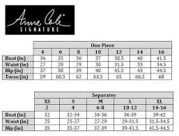 Vince Camuto Size Chart Size Charts Swimland