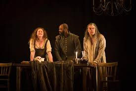 the alchemist royal shakespeare company siobhan mcsweeny as dol common ken nwosu as face and mark lockyer as subtle in