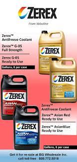 Zerex Antifreeze Application Chart Zerex Antifreeze By Valvoline G 05 Full Strength And 50 50
