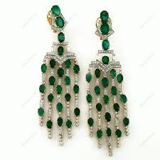 emerald oval 3 29cts brilliant baguette chandelier earring in 18k white gold