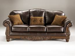 North Shore Old World Dark Brown Wood Leather Sofa