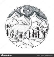 горы татуировка татуировка бронтозавра астронавт горы стоковое