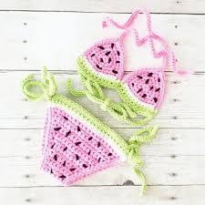 Crochet Baby Bikini Watermelon Bathing Suit Swimsuit Onesie Jumpsuit ...