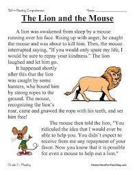 First Grade Reading Comprehension Worksheets | The Lion and the ...