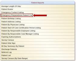 Emergency List Emergency Preparedness Patient List Report Help Center