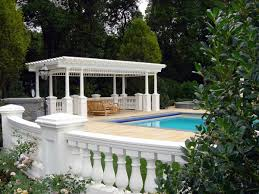 ... Magnificent Pergola Garden Wall Custom Baluster Rail System Franklin  Lakes With Outdoor Pool Design With Stone ...