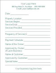 Bid Sheet Free Lawn Care Contract Forms Lawn Maintenance Contract ...