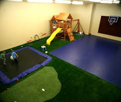 indoor playground gym with trampoline putting green swings