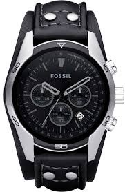 men s fossil black chronograph leather cuff watch ch2586