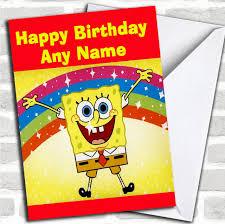 printable children s birthday cards spongebob squarepants rainbow personalized childrens birthday card