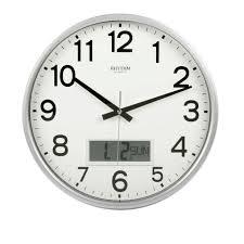 rhythm satin silver silent office wall clock lcd day date calendar dial