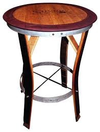 wine barrel furniture wine barrel table with red trim staves out tall wine barrel table tops