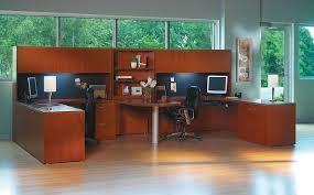 2 person office furniture. Mayline Aberdeen Person Workstation Peninsula Office Desk With Overhead Storage Throughout Furniture