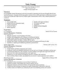 Resume For Auto Mechanic Best Automotive Technician Resume Example