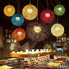 minimalist rattan pendant lamp colorful ball hanging light for bar cafe clothing retro rural rope wicker light fixture pendant track lighting vintage