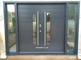 contemporary front doors oak and other woods bespoke modern double entry glazed door with sidelights