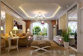 European Style Living Room Interior With Fall Ceiling Decorations Living Room Ceiling Interior Design Photos