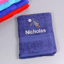 children s personalised rocket bath towel