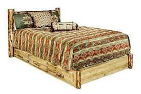 Storage Platform Bed with Drawers QUEEN Size LOG Beds Amish Made