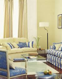 floral living room chairs. a pale butter-yellow and cornflower-blue living room with rich hardwood flooring floral chairs