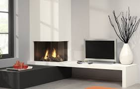 image of corner white electric fireplace tv stand