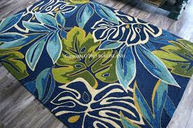 green indoor outdoor rug outdoor rug tropical coastal beach palms blue aqua green indoor outdoor hooked
