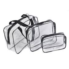 details about hot 3pcs clear cosmetic toiletry pvc travel wash makeup bag black ed