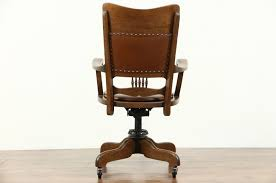 leather swivel office chair. Sold Oak Leather Swivel Adjustable Antique Desk Chair Signed For Brilliant Home Decor Office