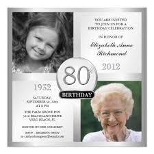 90 Birthday Party Invitations Silver 80th Birthday Invitations Then Now Photos Zazzle