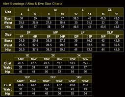 Pillowcase Dress Measurement Chart Alex Evenings 135388